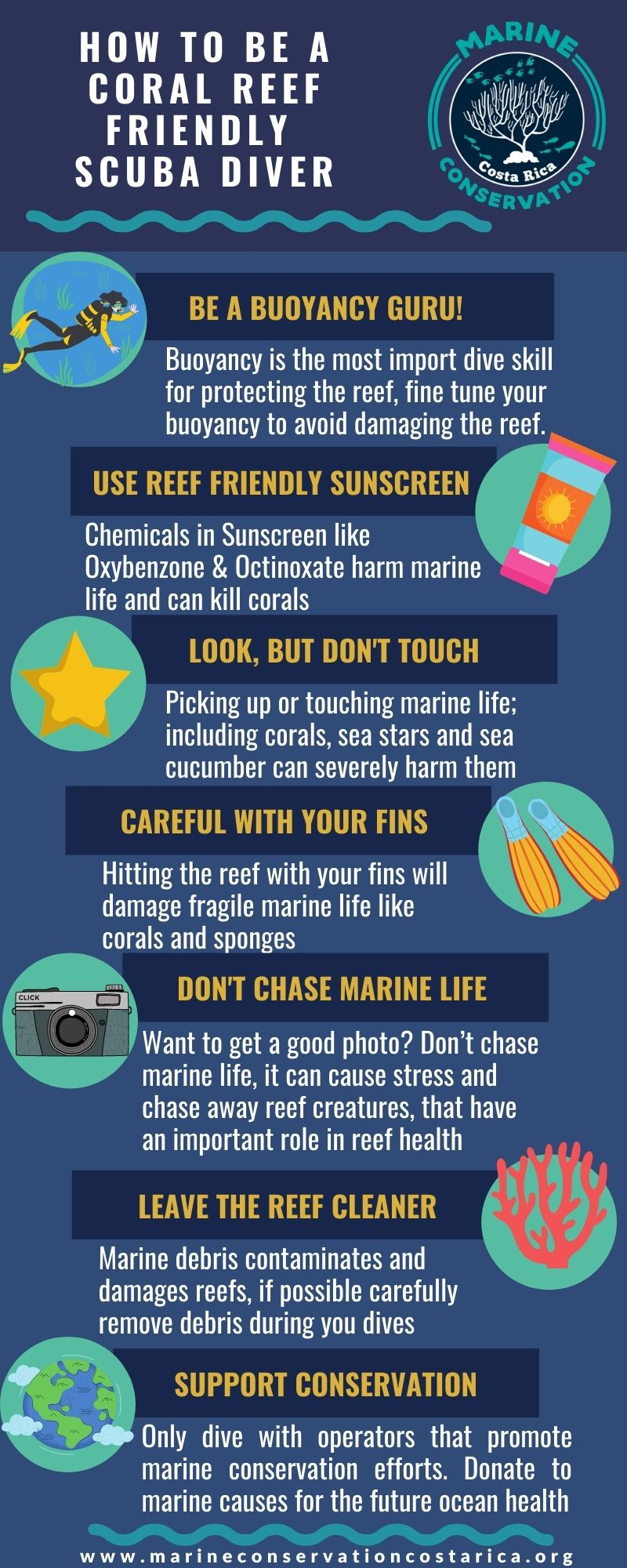 Infographic of How to Be a Coral Reef Friendly Diver